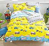 CHARM HOME Cars Airplanes Motorcycle Train Construction Vehicles Truck Excavator Police Car Submarine Hot Air Balloon and More Kids Boys Girls Yellow Bedding Full Size Duvet Cover Set 100% Cotton