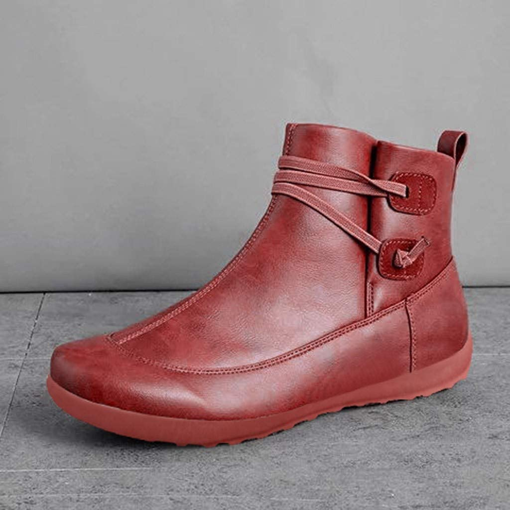 Quealent Ankle Boots for Women No Heel,New Arch Support Boots Womens Side Zipper Ankle Booties Comfy Leather Flat Heel Boots