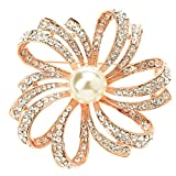TS Bridal Fashion Luxury Brooches Pearl Snow Ball Flower Rose Gold Wedding Brooch Pins (D)
