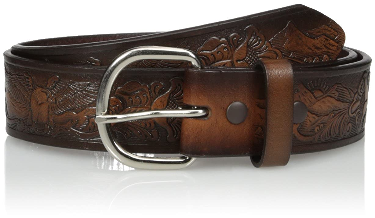 Nocona Mens Hired Brown Floral Eagle Belt
