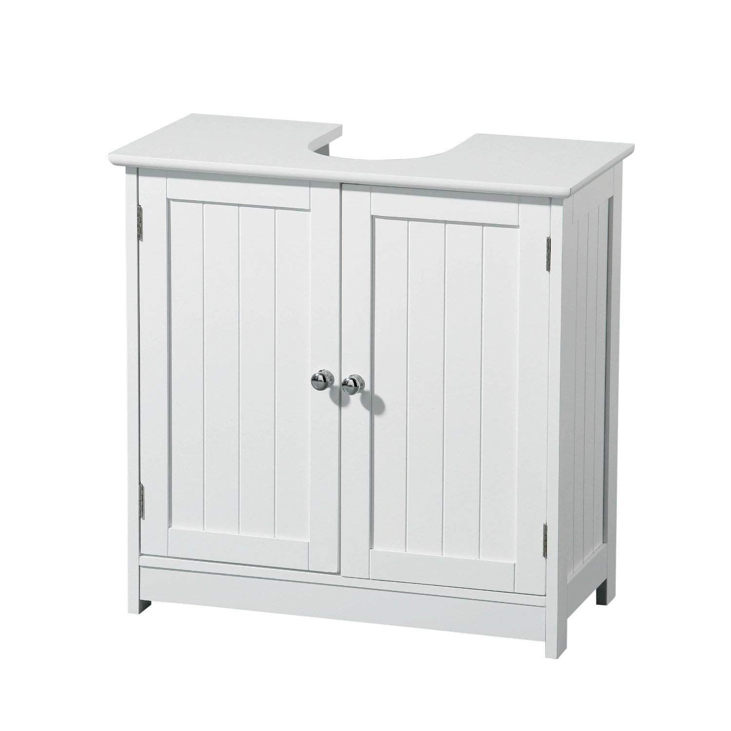 Bathroom Wall Mounted Cabinet Double Mirror Door Wooden Shelf Storage Unit White PDL