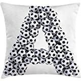 Starotor Throw Pillow Letter A Cushion Cover, Realistic Soccer Balls in form of Capital A Sports Play League Competition Theme, Decorative Square Accent Pillow Case, 18 X 18 Inches, Black White