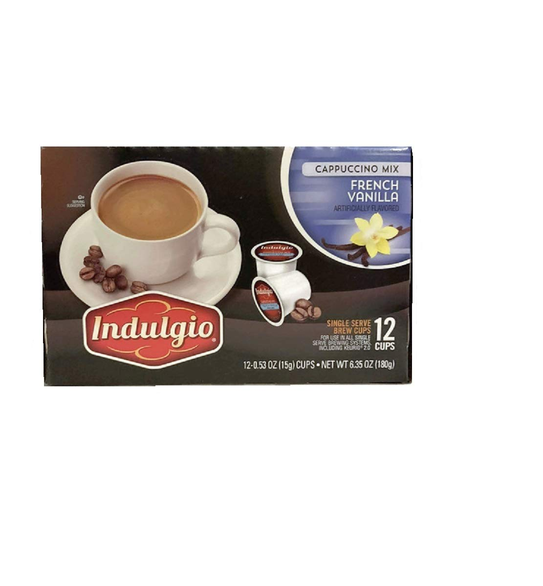 French Vanilla Cappuccino Mix Single Brew K Cups by Indulgio. 12 K Cups per box.Enjoy the Vanilla Flavor with each sip.
