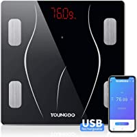 YOUNGDO Body Fat Scale with 23 Essential Measurements, Weighing Scale Smart Bathroom Digital Scales,USB Charging Body…
