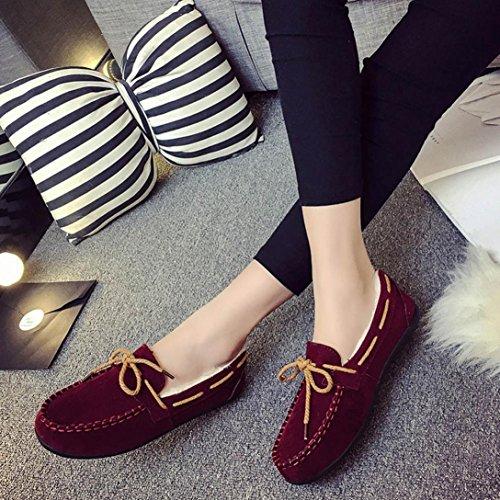 Tiean Autumn Winter Women Warm Flats Rubber Soft Round Casual Peas Flat Shoes Wine PdkcCsDZcd