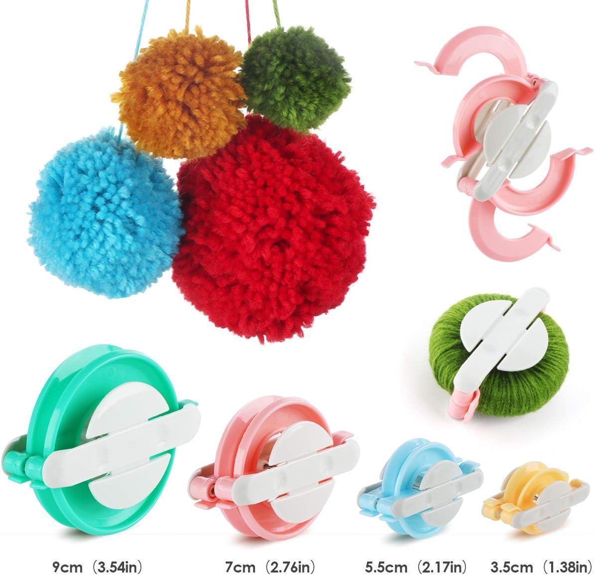 Homewit Gomitoli di Lana Telaio per Realizzare Pompon in 4 Misure Diverse per Fluff Balls 12 Colori*50g Premium Cotone Acrilica Filato e 2 uncinetti Knitting Projects