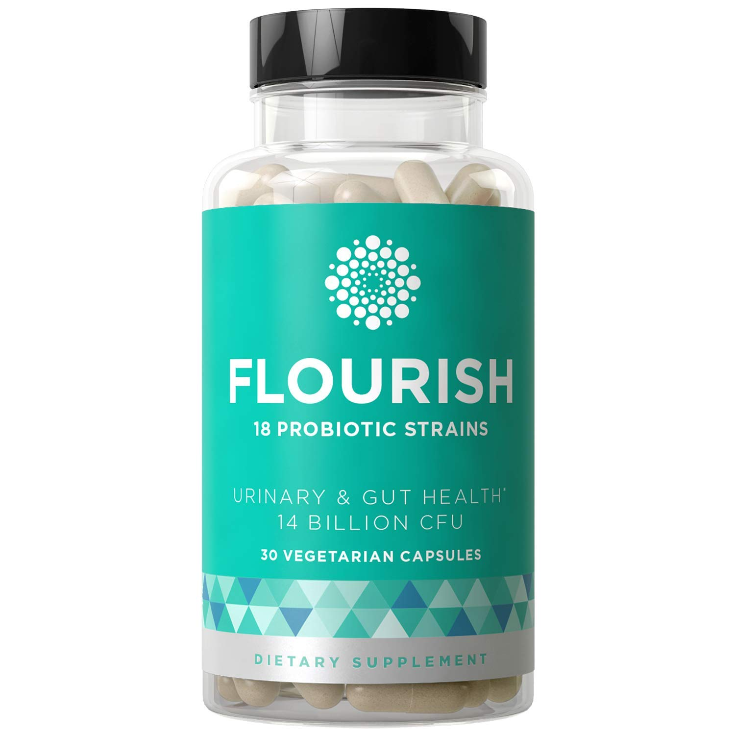 Flourish Probiotics Women - Gut & Digestive Health, Urinary Tract, Prenatal & Pregnancy - 18 Potent Strains, 14 Billion CFU, Lactobacillus, Saccharomyces, Prebiotic - 30 Vegetarian Capsules