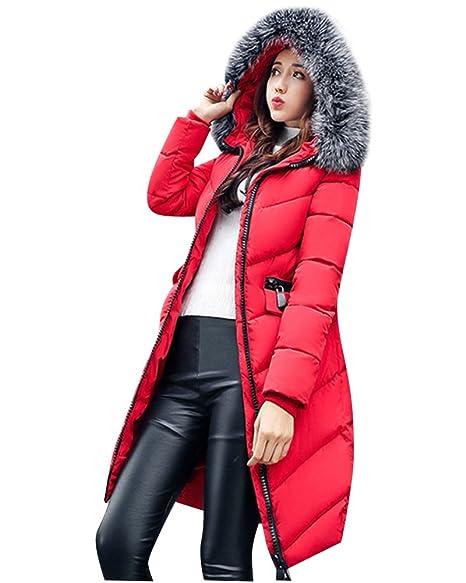 ZongSen Donne Lunga Piumino Cappotto Cappuccio Cappotto di Cotone Grande  Colletto Rosso S 18e2c1499d7