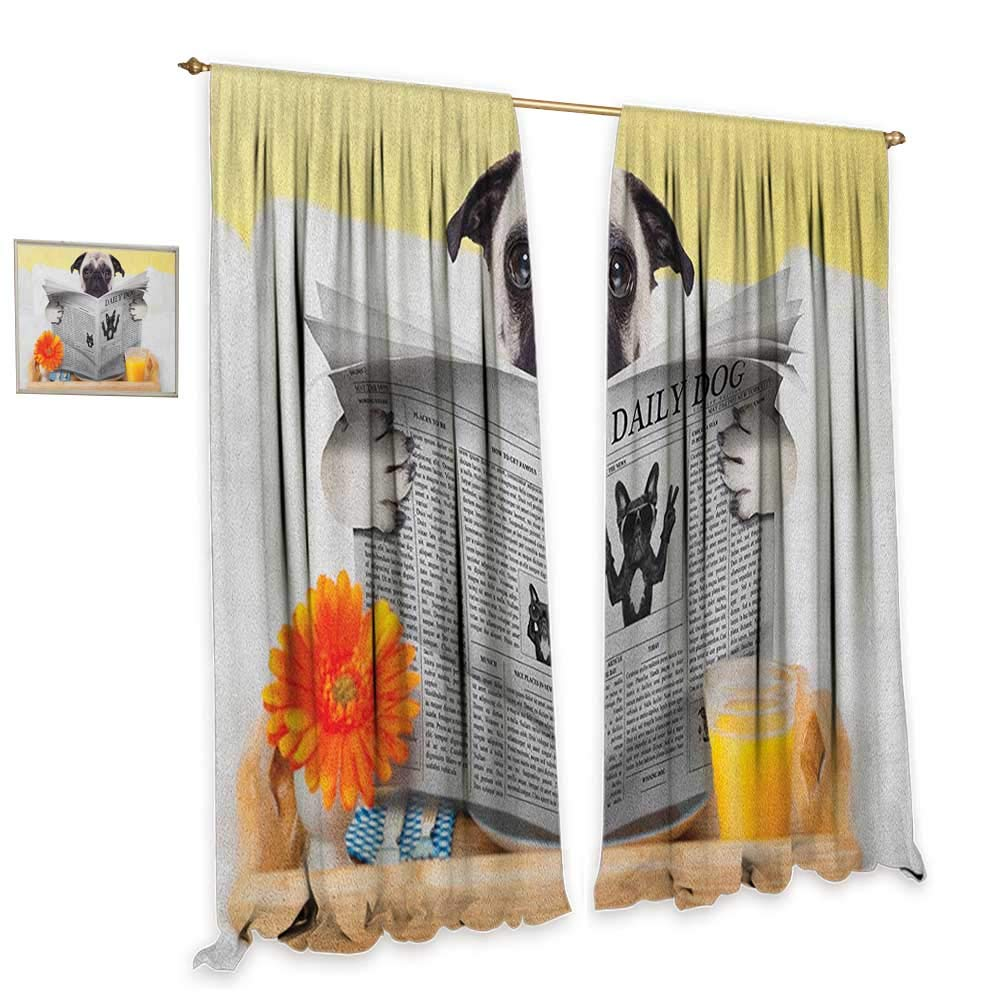 homefeel Pug Patterned Drape for Glass Door Pug Reading Daily Dog Breakfast in Bed Sunday Family Fun Comedic Image Customized Curtains W108 x L108 Pale Brown Yellow Orange