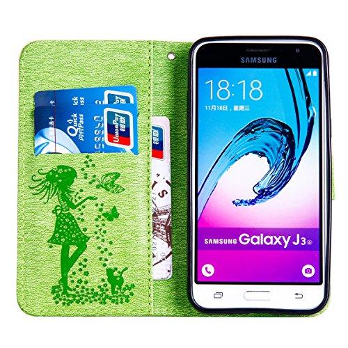 Funda Galaxy J3, Funda de brillo Galaxy J3, Lifetrut Sólido Shiny Sparkle Libro de Estilo de Cuero con Ranura para Tarjetas de Cierre Magnético Soporte Funda de Teléfono de la Función con Correa de Mu E203-Verde