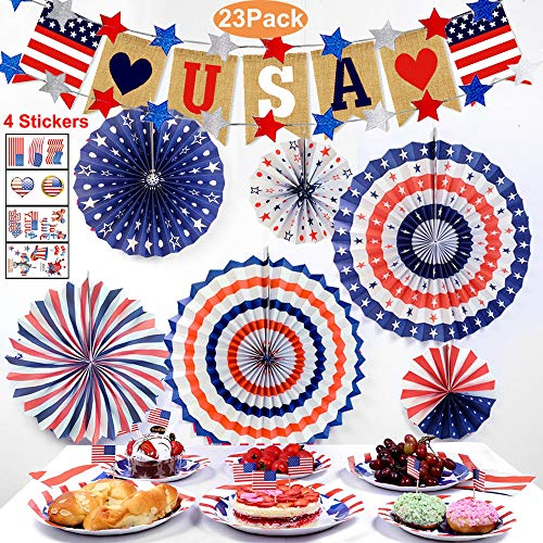 (Newest 4th of July decorations/American Independence Day Decor/Set of 23Pcs Patriotic Decors - Include Blue Red and White Paper Fans, American Burlap Banner, Cupcake Toppers, 22 Star Streamers, Patriotic Tattoo)