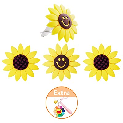 Sunflower Car Accessories Car Aromatherapy Essential Oil Diffuser Vent Clip Sunflower Charm Cute Car Interior Air Vent Decorations 4 Pack Car Vent Diffuser Clips, AMind: Beauty