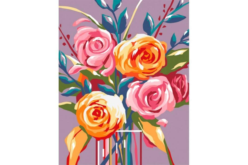 Paint By Numbers Kits Diy Oil Paintings On Canvas Gifts Wall Artwork Colored Abstract Flowers For Kids Students Adults Toy Painting By Number-Framed 16X20 Inch