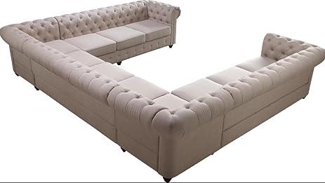 Sectional Sofa Beige Tufted U Shaped Sofa Living Room Furniture, 11 Seat,