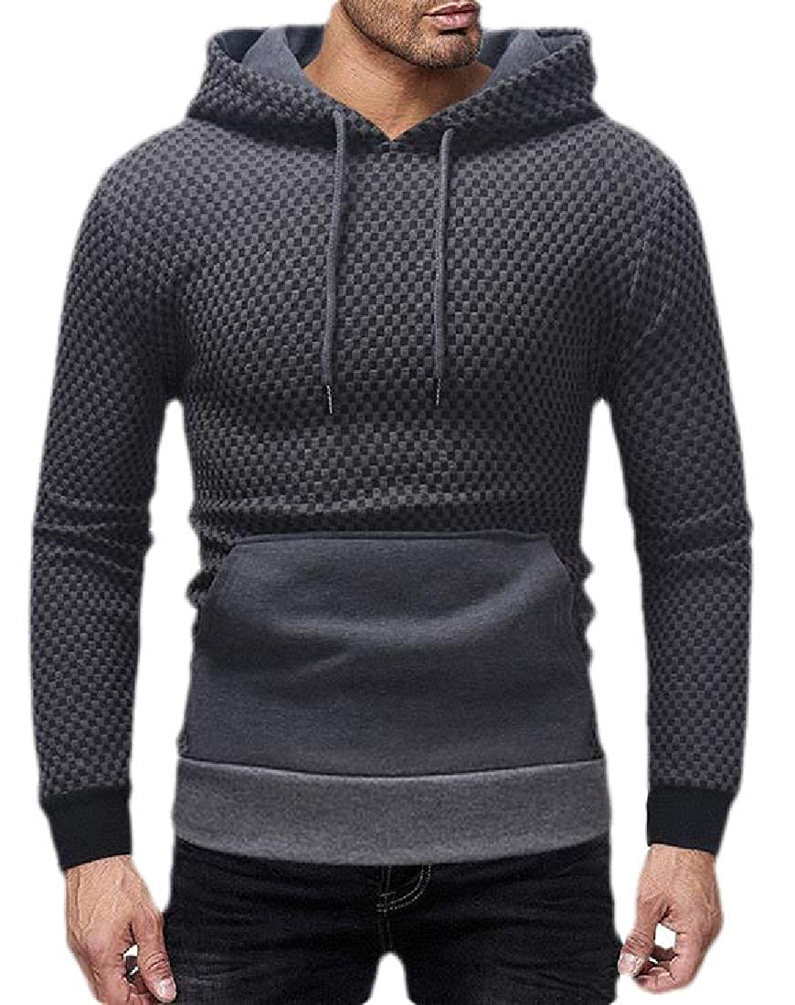Hajotrawa Mens Contrast Color Kanga Pocket Casual Long Sleeve Sweatshirt Hoodie