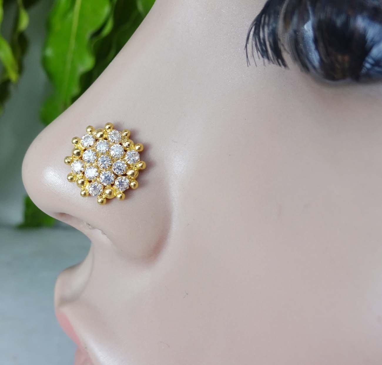 Big Gold Nose Piercing,Gold Crystal Nose Bone,Cubic Zirconia,925 ...