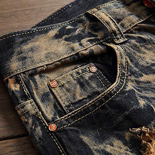 Hip Retrò Pantaloni Gelb In Stretch Casual Stile Skinny Denim Jeans Morbido hop Da Uomo Confortevoli Lanceyy Semplice RT5wPP
