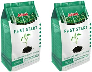 Jobe's Organics Fast Start Granular Fertilizer with Biozome, 4-4-2 Organic Fertilizer Formulated for Seeds and New Plantings, 4 pound bag(2 Pack)