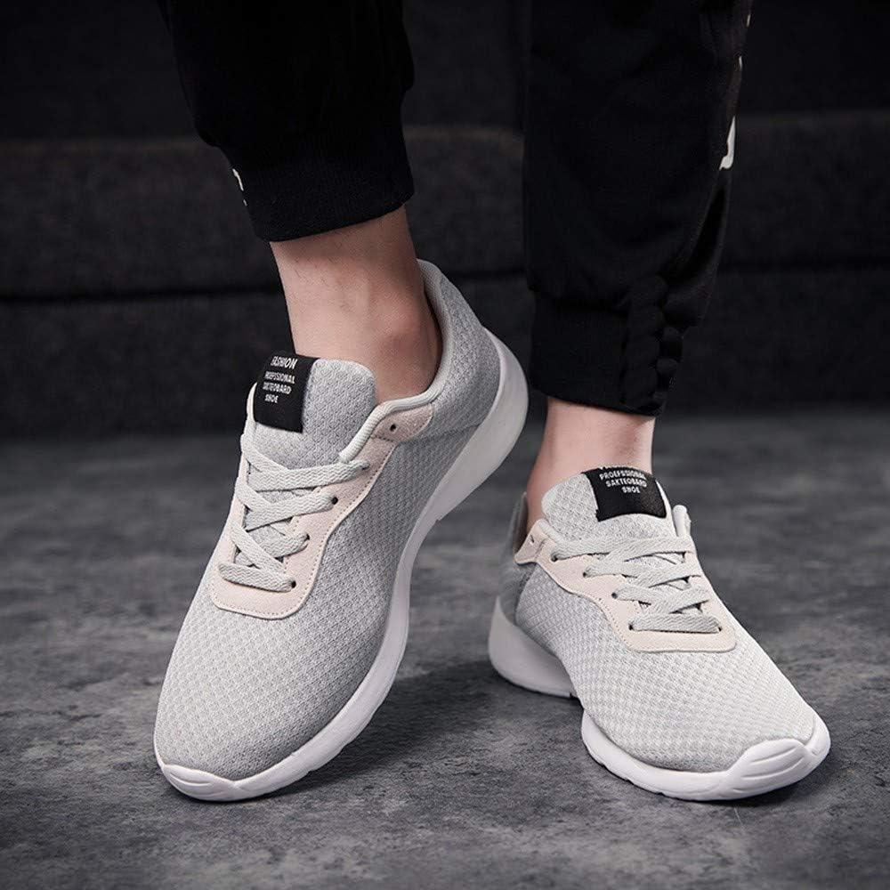 AIMEE7_Chaussure de Securité Homme Légères Casual Chaussures de Course Couleur Unie Maille Respirantes Running Baskets à Lacets Casual Chaussure de Sport Été Mode Sneakers Gris