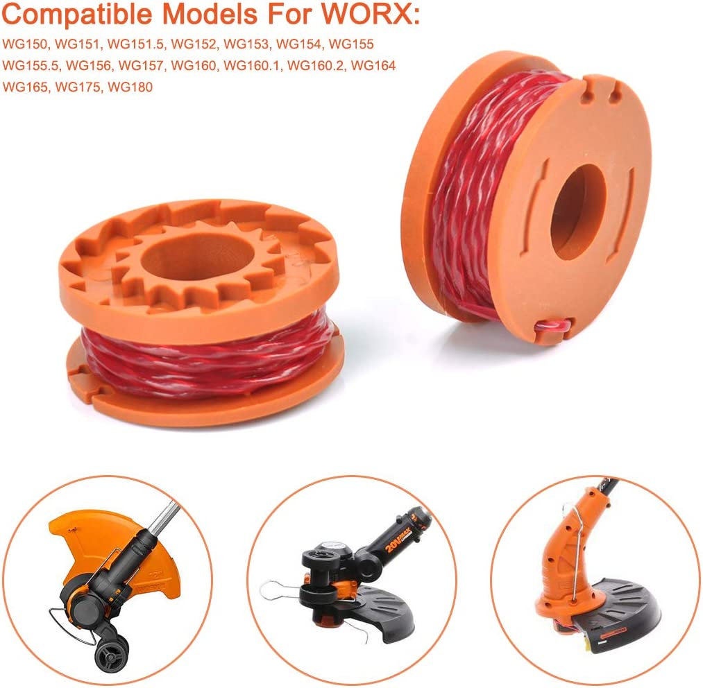 SEISSO String Trimmer Replacement Line Spool, 10ft 0.065'' Grass Trimmer Line with Trimmer Cap Cover, Weed Eater Autofeed Spool for Worx WG150-WG157 WG160 WG160.1 WG160.2 WG164 WG165 WG175 WG180 etc. : Garden & Outdoor