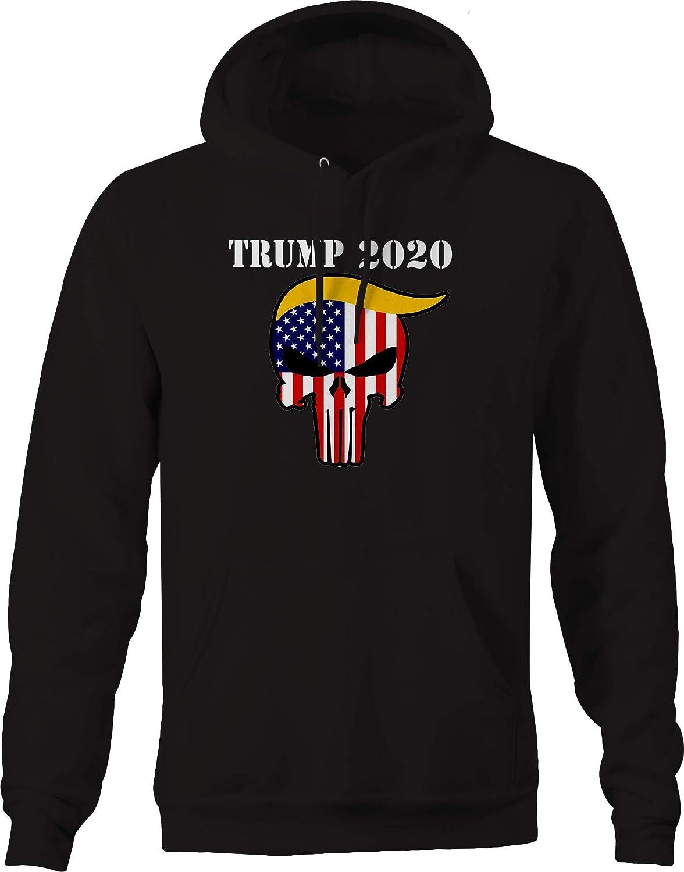 Donald Trump American Flag Punisher Skull 2020 Hooded Sweatshirt