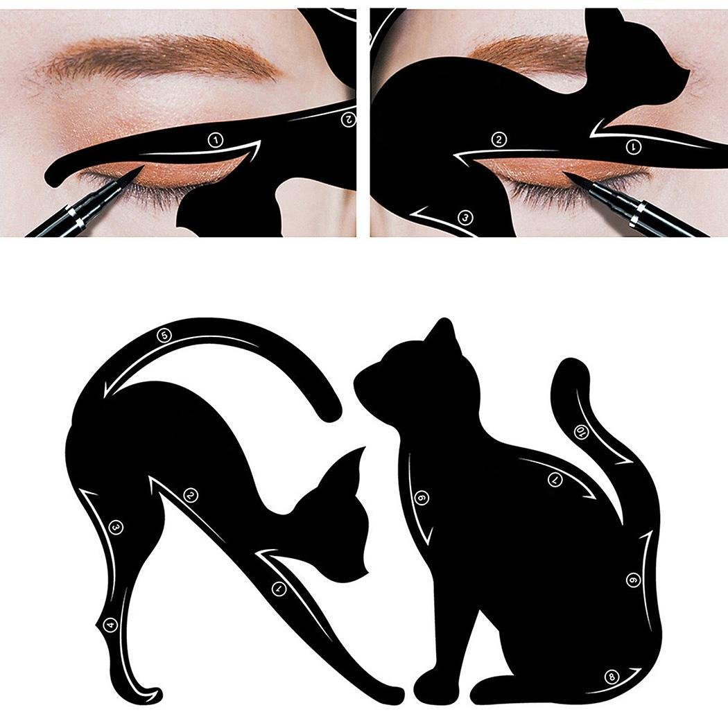 Lovely eyeliner stencil shaped like a lazy cat