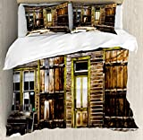 Ambesonne Rustic Duvet Cover Set Twin Size, Old Wooden Plank House with Antique Door and Windows with Stones on Rocky Ancient Street, Decorative 2 Piece Bedding Set with 1 Pillow Sham, Brown