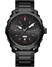 CURREN Men's Watch Stainless Steel Watchband Wristwatches Waterproof Quartz Watches with Calendar for Men 8266 (Black-Red)
