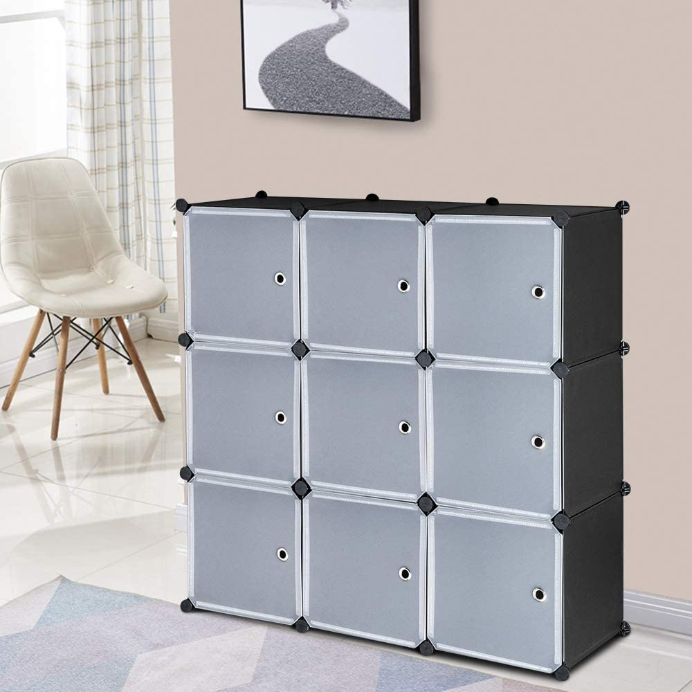 Festnight 10-Cube Storage Units with Doors Organizer Display Cabinet  Bookcase Shoe Storage Shelves Modular Book Shelf for Living Room Closet  Bedroom