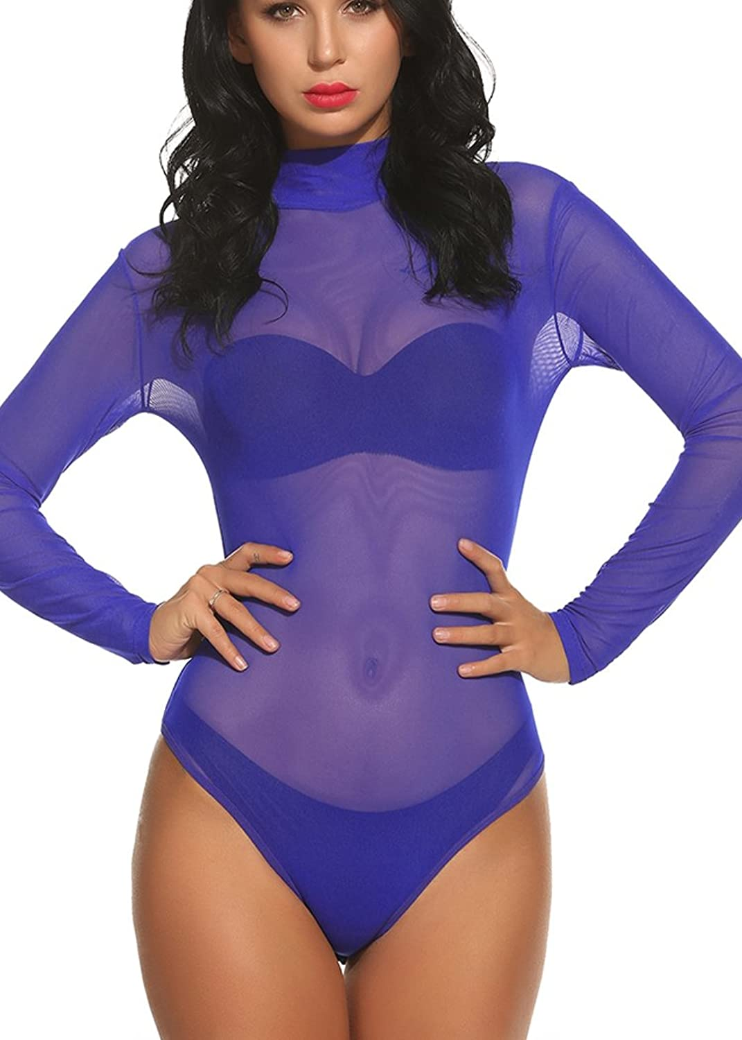 OURS Women's Sexy Long Sleeve Sheer Mesh Corset Bodysuit Top