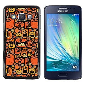 FECELL CITY // Duro Aluminio Pegatina PC Caso decorativo Funda Carcasa de Protección para Samsung Galaxy A3 SM-A300 // Orange Pumpkin Autumn Drawing