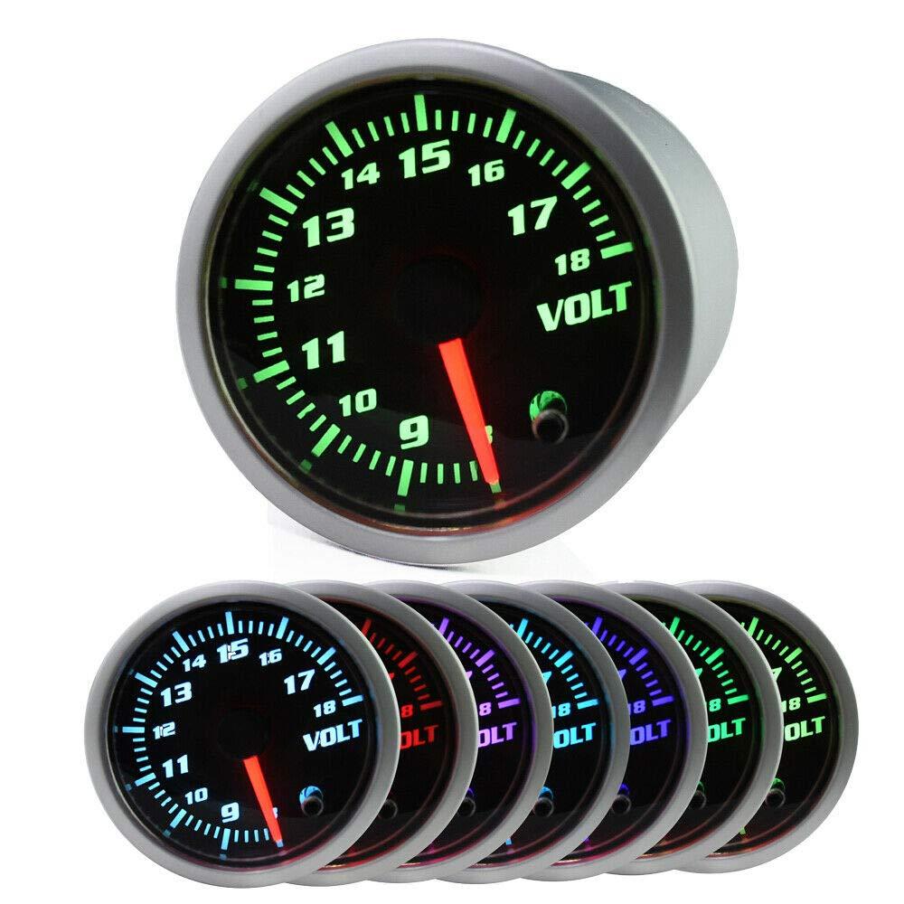 MotorbyMotor 52mm Voltage Gauge 7 Color LCD Digital 2'' Voltmeter Guage Sensor Kit for Auto Car-Smoke Lens by MotorbyMotor