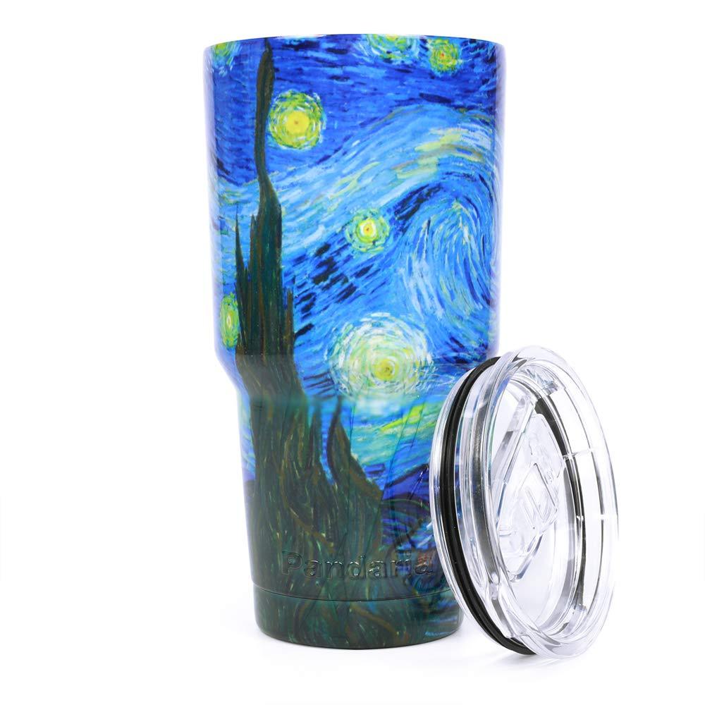 Pandaria 30オンスステンレススチール真空断熱タンブラー蓋 – ダブルウォール旅行マグ水コーヒーカップforアイスドリンク&ホット飲料 PAN-TUM-30-STR-01  スターリーナイト(Starry Night) B07BLNLDD3