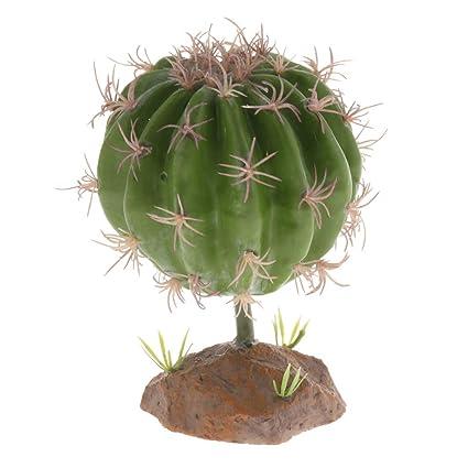 FLAMEER Planta Suculenta con Base Resina Reptil Complimentos Pecera Adornos Decoración Ornamento Duradero - Estilo 2