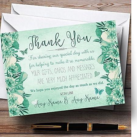Pale Teal Mint Green Vintage Watercolour Floral Personalized Wedding Thank Yo.