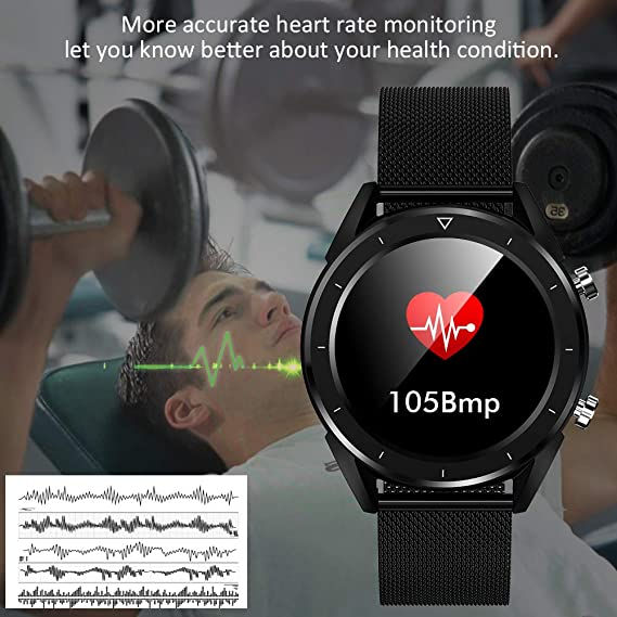 Smartwatch, Kivors Bluetooth Smart Watch Touch Screen with Multiple Sports Modes, with Heart Rate Monitor, Calorie Monitor,Pedometer, Sleep for ...