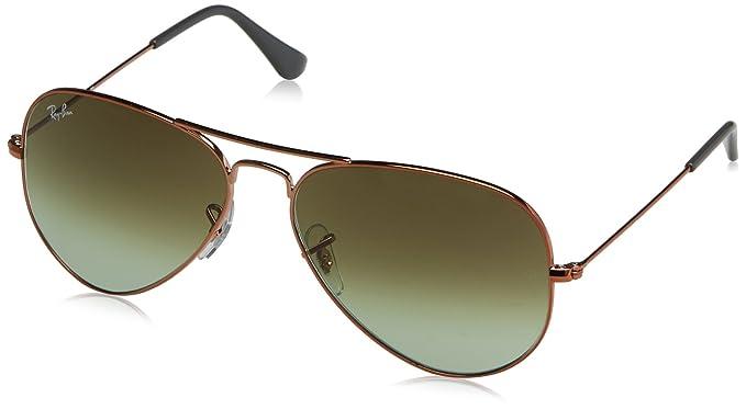 3066a0c81c95f2 RAYBAN JUNIOR Unisex-Erwachsene Sonnenbrille Aviator, Shiny Medium  Bronze/Green Gradient Brown,