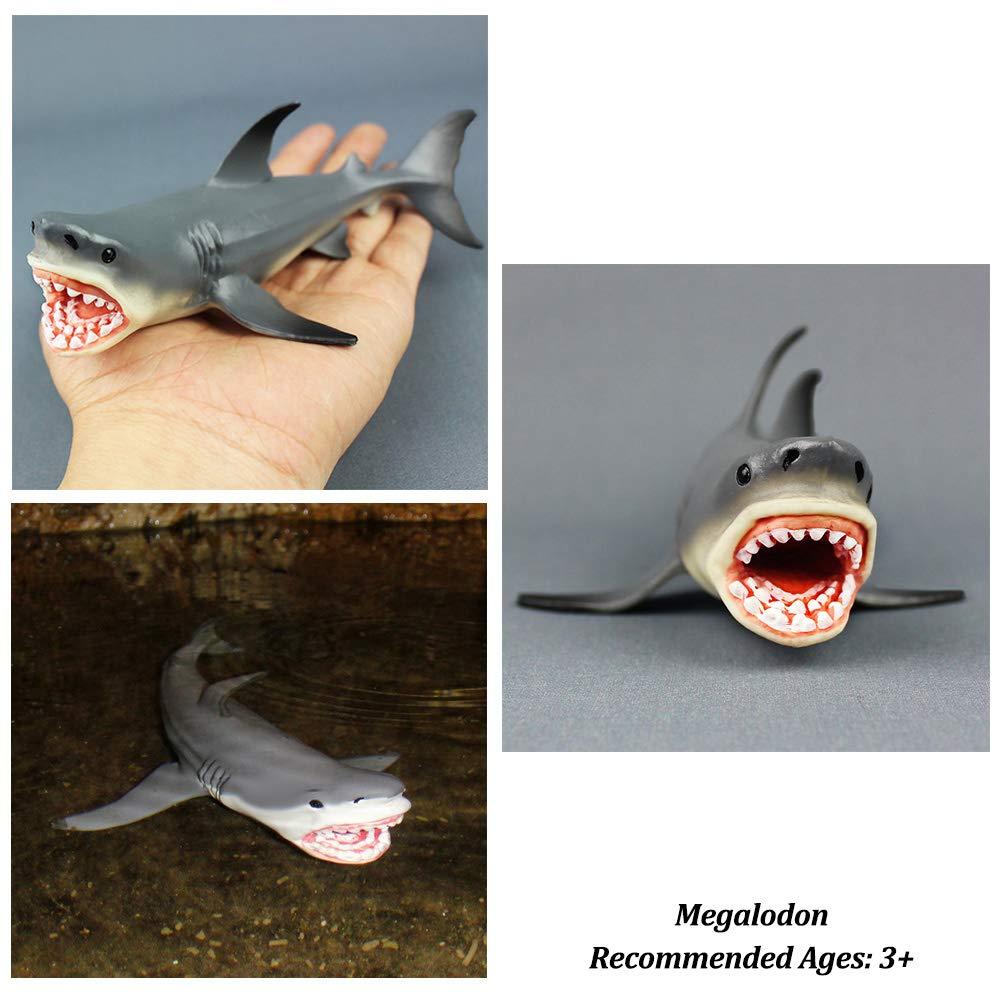 Paquete de 3 Adornos para acuarios de tiburones Megalodon, decoraciones de acuarios, seguros para todos los peces y mascotas acuáticas Juguetes Meg para ...