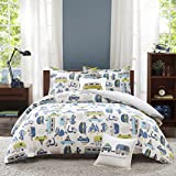 4 Piece Road Trip Vintage Vans Motorbikes Patterned Duvet Cover Set Full/Queen Size, Bold Graphic Colorful Cars Scooter Bedding, Embroidered Car Decorative Pillow, Stylish Explorer Kids Bedroom, Navy