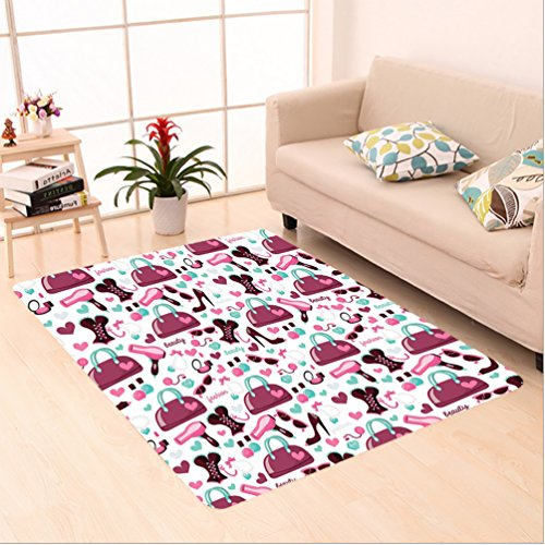 7' High Heels (Nalahome Custom carpet mary Girl Fashion Objects with Glamour High Heel Shoe and Trendy Bag Clothing Theme Purple White area rugs for Living Dining Room Bedroom Hallway Office Carpet (6' X 9'))