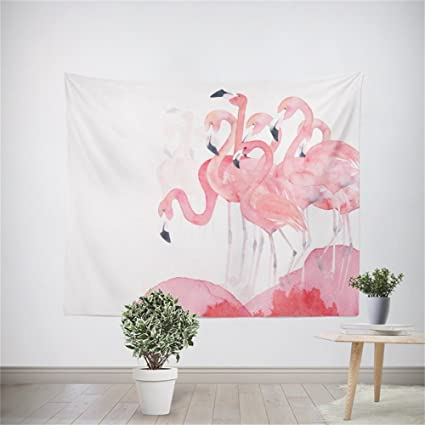 Pink Flamingo Tapestry Wall Hanging Lovely Cute Tropical Flamingo ...