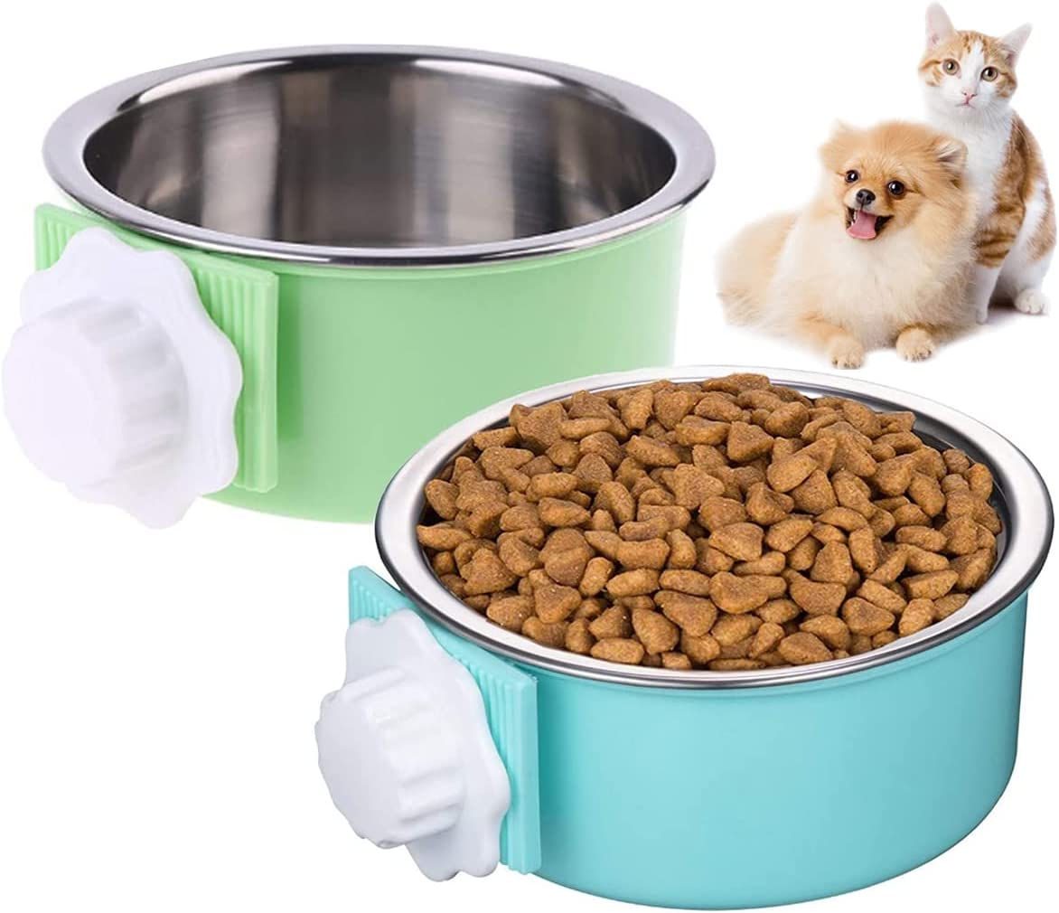 2 Pack Dog Crate Water Bowl No Spill, 2-in-1 Plastic Bowl & Stainless Steel Pet Bowl, Removable Kennel Water Bowl for Pet Small Dogs, Hanging Cage Bowls for Puppy Cat Bird Rat Rabbit