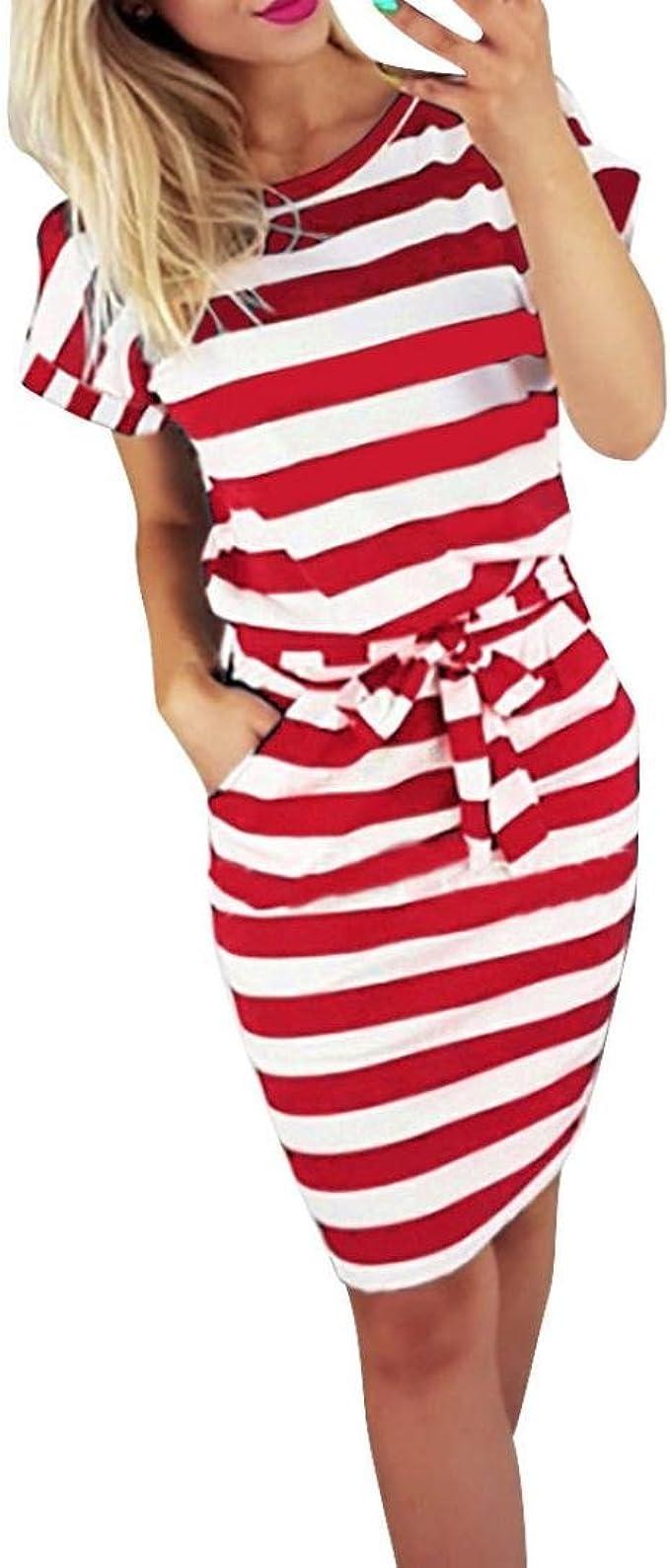 Gusspower Mode Damen Kleid Sommer Casual Rundkragen Kurzarm Gestreifte  Krawatte Taille Frauen Batwing Beiläufige Knielänge Rot Kleid