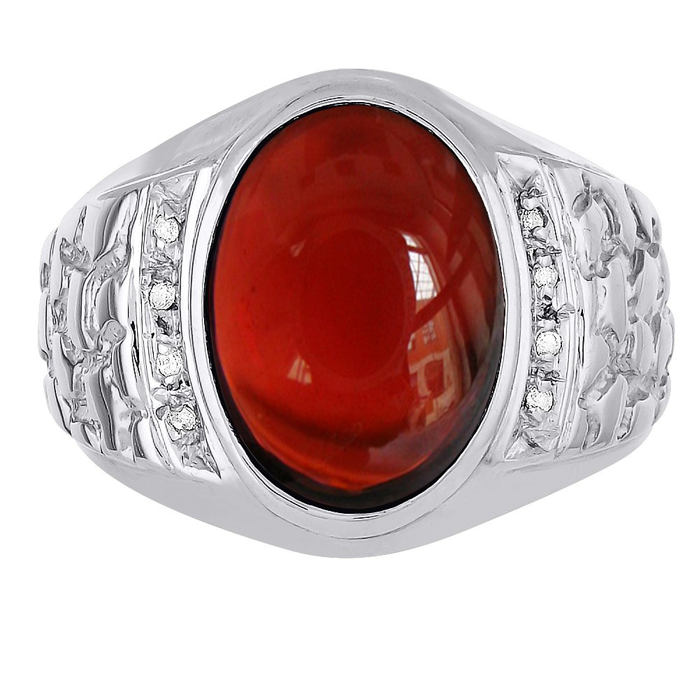 Oval Cabochon Garnet & Diamonds Set in Nugget Designer Style Sterling Silver 925 Ring