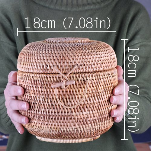 GreenSun(TM) Rattan Weave Food Container Storage Box Handmade Organizer Kitchen Breathable Cans For Bulk Products Banks Jars Caps Jug Lock (Bank Rattan)