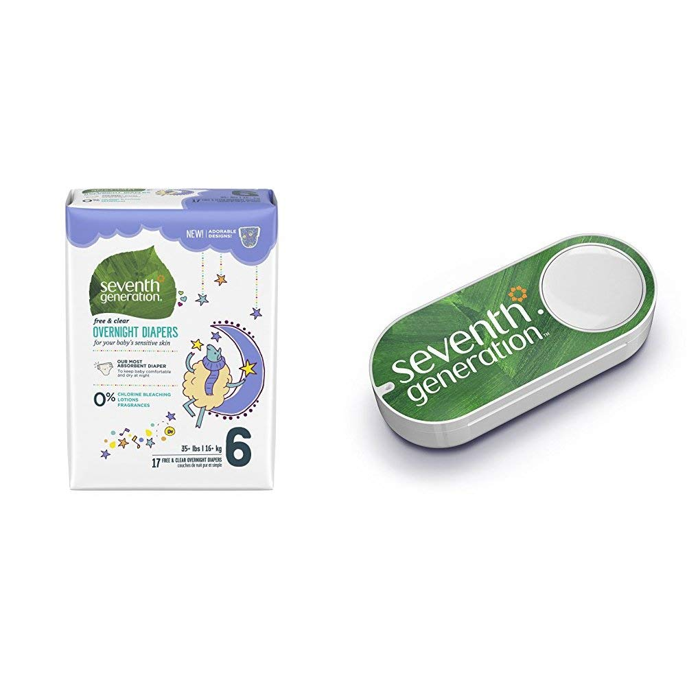 Seventh Generation Baby Overnight Diapers, Free & Clear, Stage 6, 35+ lbs, 68 Count (Packaging May Vary) + Seventh Generation Dash Button by  (Image #1)