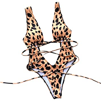 0211e0998e Image Unavailable. Image not available for. Color  Women Sexy Leopard High  Cut Out Bikini ...