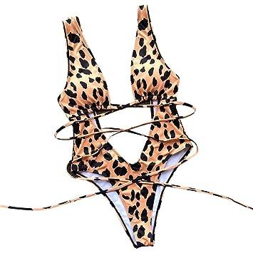 04e2ca2d60679 Amazon.com : Women Sexy Leopard High Cut Out Bikini One Piece ...