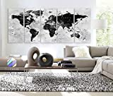 Original by BoxColors XLARGE 30''x 70'' 5 Panels 30''x14'' Ea Art Canvas Print Watercolor Map World Countries Cities Push Pin Travel Wall color Black White Gray decor Home interior (framed 1.5'' depth)