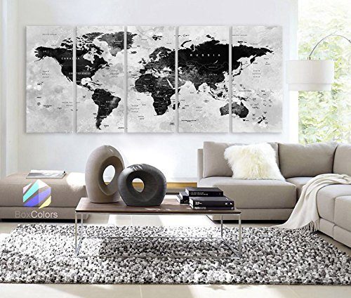 Original by BoxColors XLARGE 30''x 70'' 5 Panels 30''x14'' Ea Art Canvas Print Watercolor Map World Countries Cities Push Pin Travel Wall color Black White Gray decor Home interior (framed 1.5'' depth) by BoxColors